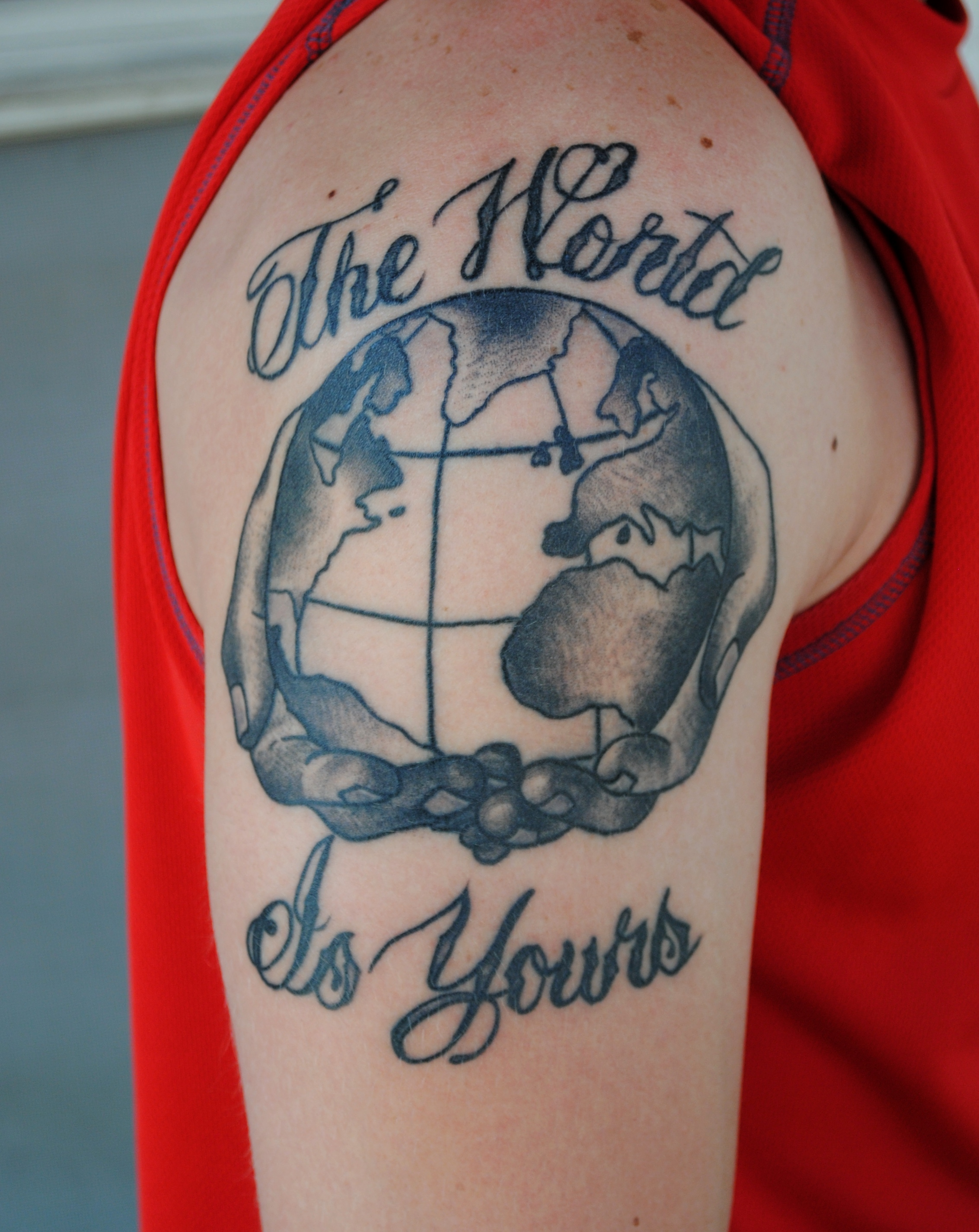 The world is yours arm tattoo images for The world is yours tattoo