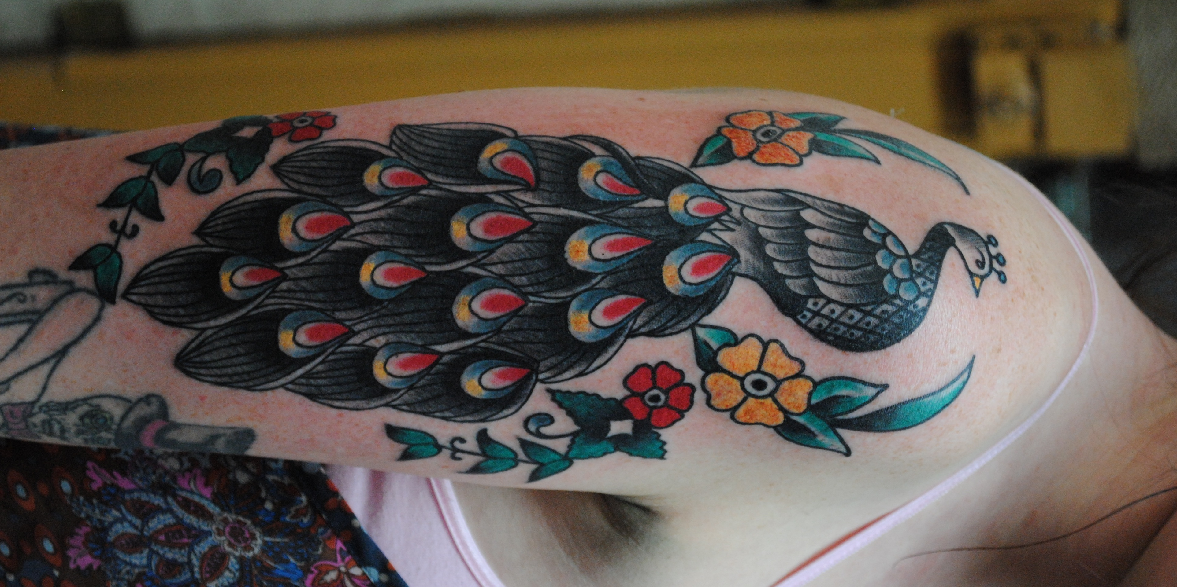 Peacock tattoo knock knock the devil for Traditional peacock tattoo